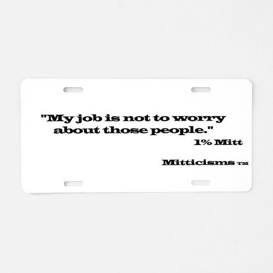 1% Mitt Aluminum License Plate