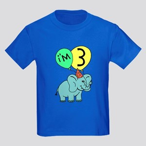 Birthday Elephant Three Kids Dark T-Shirt