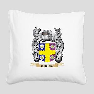 Burton Family Crest - Burton Square Canvas Pillow