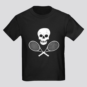 Skull & Tennis Racquets Kids Dark T-Shirt