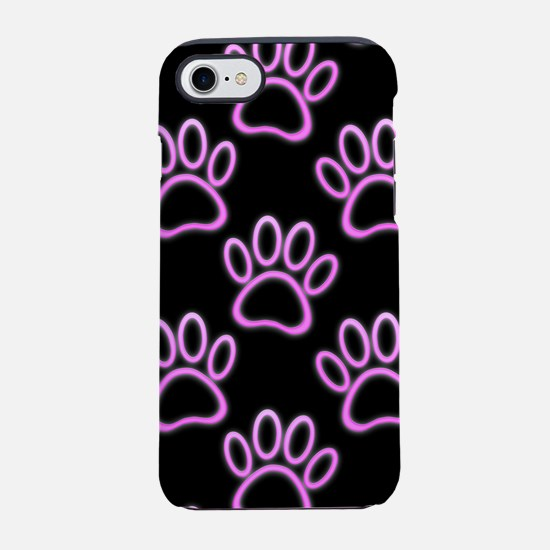 Pink Neon Dog Paw Print iPhone 7 Tough Case