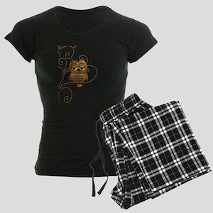 Brown Swirly Tree Owl Women's Dark Pajamas