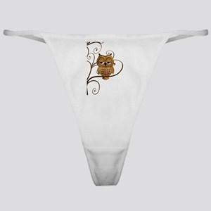 Brown Swirly Tree Owl Classic Thong