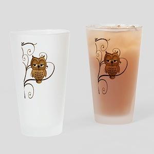 Brown Swirly Tree Owl Drinking Glass