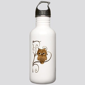 Brown Swirly Tree Owl Stainless Water Bottle 1.0L