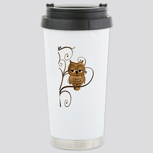 Brown Swirly Tree Owl Stainless Steel Travel Mug