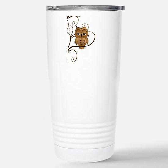 Brown Swirly Tree Owl Stainless Steel Travel Mug
