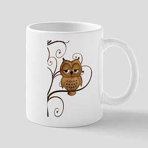 Brown Swirly Tree Owl Mug