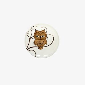 Brown Swirly Tree Owl Mini Button