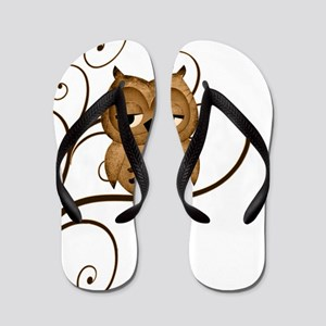 Brown Swirly Tree Owl Flip Flops