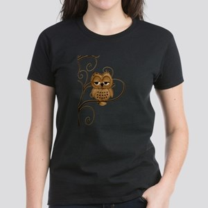 Brown Swirly Tree Owl Women's Dark T-Shirt