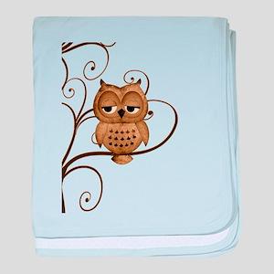 Brown Swirly Tree Owl baby blanket
