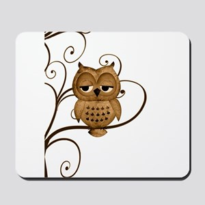 Brown Swirly Tree Owl Mousepad