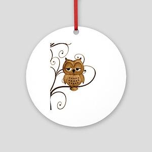 Brown Swirly Tree Owl Ornament (Round)