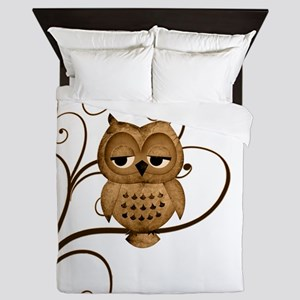 Brown Swirly Tree Owl Queen Duvet