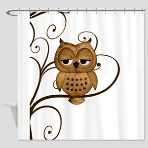 Brown Swirly Tree Owl Shower Curtain