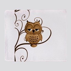 Brown Swirly Tree Owl Throw Blanket