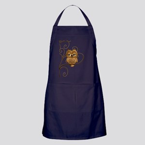 Brown Swirly Tree Owl Apron (dark)