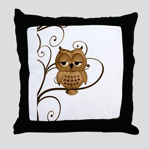 Brown Swirly Tree Owl Throw Pillow