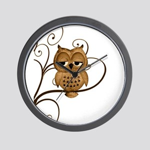 Brown Swirly Tree Owl Wall Clock