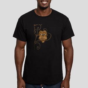 Brown Swirly Tree Owl Men's Fitted T-Shirt (dark)
