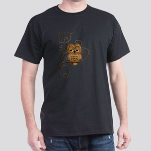 Brown Swirly Tree Owl Dark T-Shirt