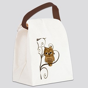 Brown Swirly Tree Owl Canvas Lunch Bag