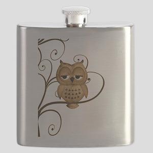 Brown Swirly Tree Owl Flask