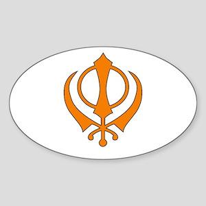 Khanda black Sticker (Oval )