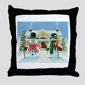 American Snowman Gothic Throw Pillow