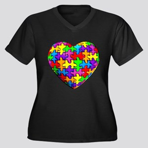 Jelly Puzzle Heart Plus Size T-Shirt