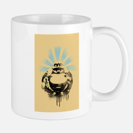 Laughing Buddha with Coffee Mug