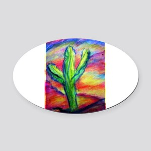 Saguaro Cactus, Southwest art! Oval Car Magnet