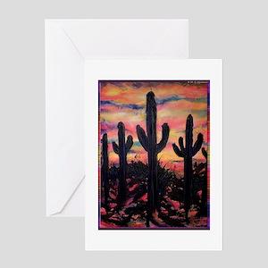 Desert, southwest art! Saguaro cactus! Greeting Ca