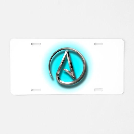 Atheist Logo (Aqua) Aluminum License Plate
