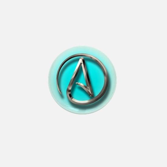 Atheist Logo (Aqua) Mini Button