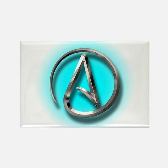 Atheist Logo (Aqua) Rectangle Magnet