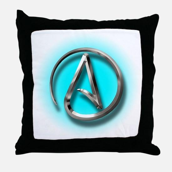 Atheist Logo (Aqua) Throw Pillow