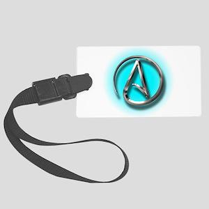 Atheist Logo (Aqua) Large Luggage Tag