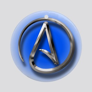 Atheist Logo (blue) Ornament (Round)