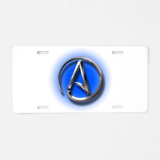 Atheist Logo (blue) Aluminum License Plate