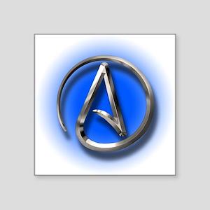 "Atheist Logo (blue) Square Sticker 3"" x 3"""
