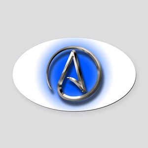 Atheist Logo (blue) Oval Car Magnet
