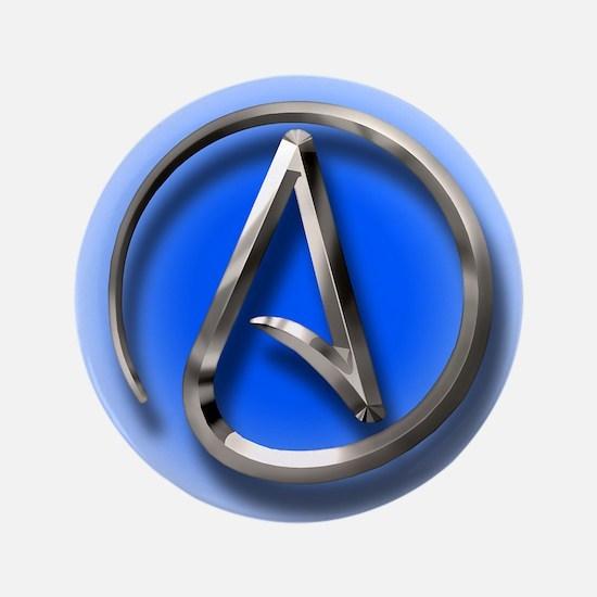 """Atheist Logo (blue) 3.5"""" Button"""