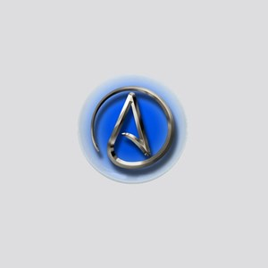 Atheist Logo (blue) Mini Button