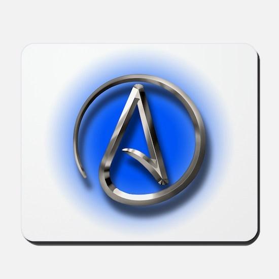 Atheist Logo (blue) Mousepad