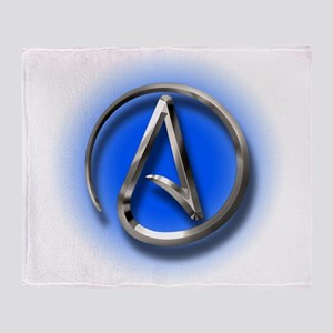 Atheist Logo (blue) Throw Blanket
