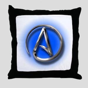 Atheist Logo (blue) Throw Pillow