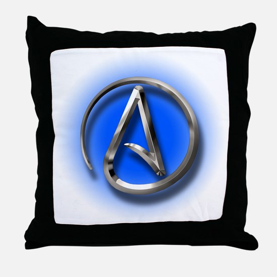 Atheist Logo (blue) Throw Pillow