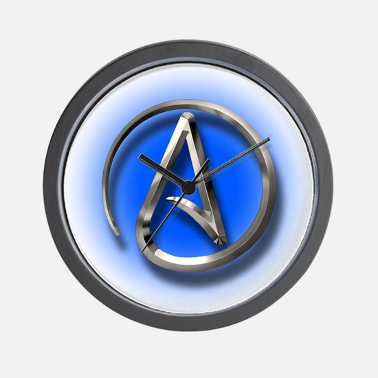 Atheist Logo (blue) Wall Clock
